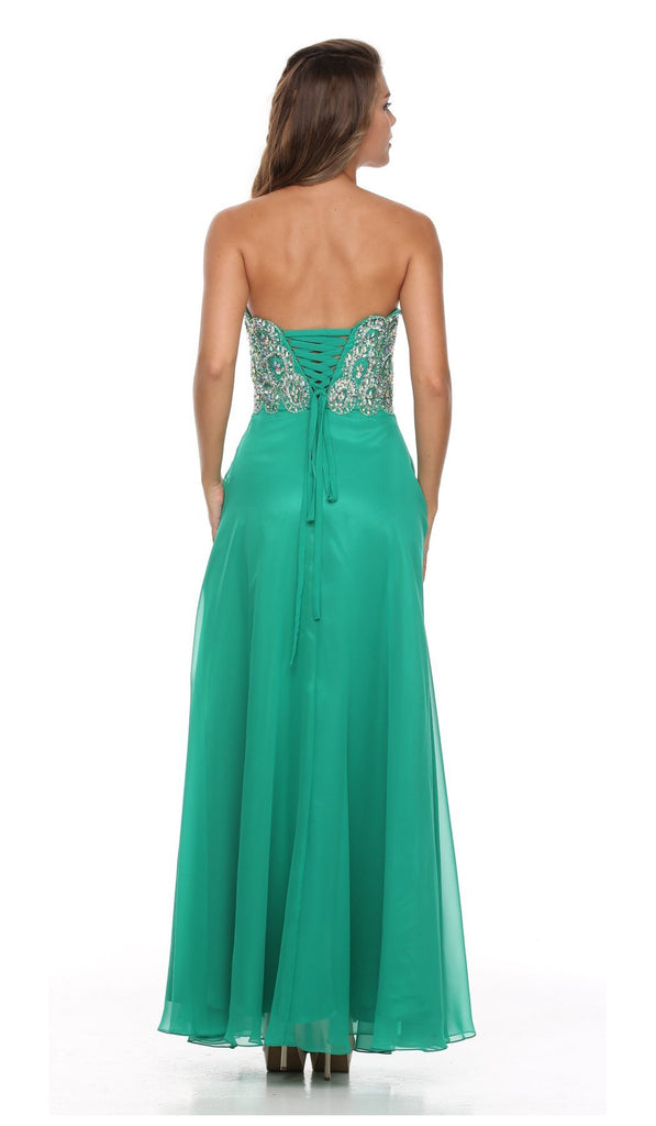 Layered Strapless Sweetheart Neck Emerald Green Prom Dress