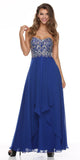 Layered Strapless Sweetheart Neck Royal Blue Prom Dress