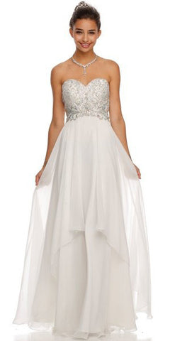 Layered Strapless Sweetheart Neckline Jade Prom Dress