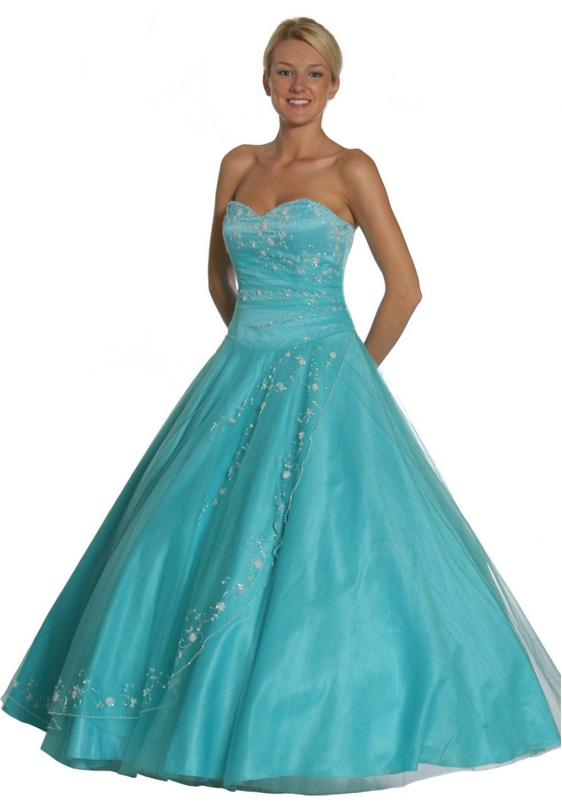 b755b291d7 Aqua Princess Dress Strapless Aqua Ballroom Aqua Quinceanera Dresses ...