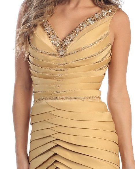 Long Formal Gold Prom Dress Mermaid V-Neck Flare Satin Chiffon