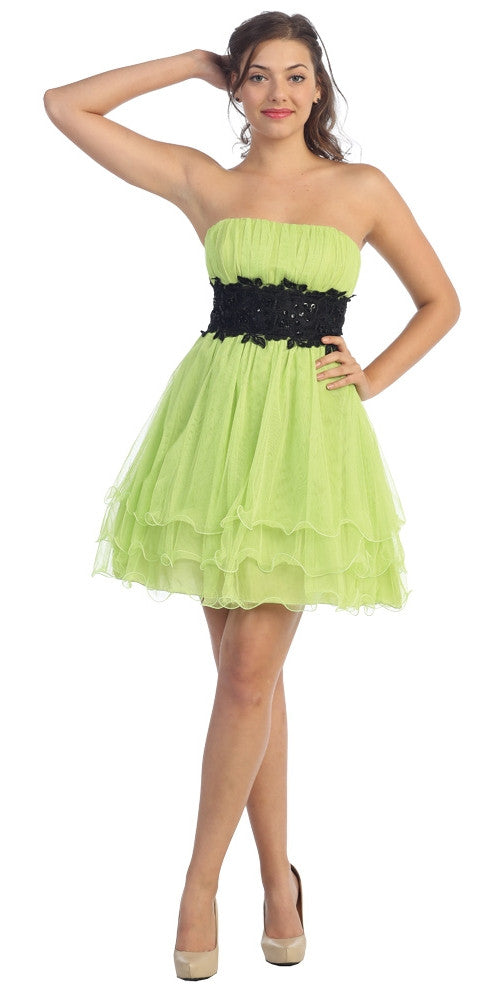 Lime Green/Black Poofy A Line Short Dress Strapless Ruffled Hem