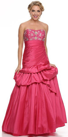 Long Fuchsia Ball Gown Strapless Lace Up back Taffeta Plum Beading