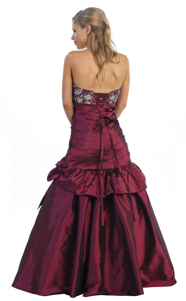Long White Ball Gown Strapless Lace Up back Taffeta Plum Beading