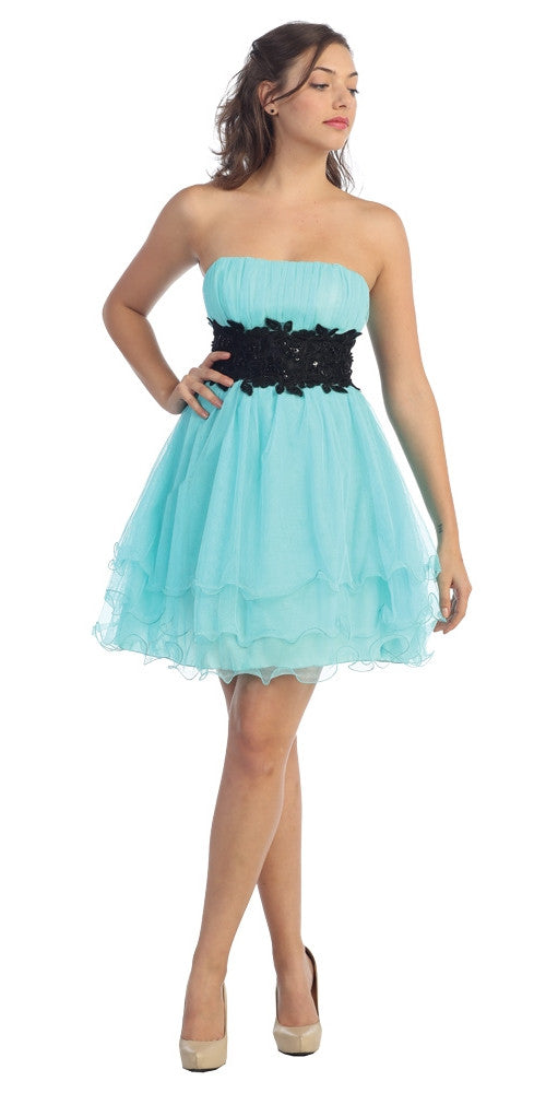 Mint/Black Poofy A Line Short Dress Strapless Ruffled Hem