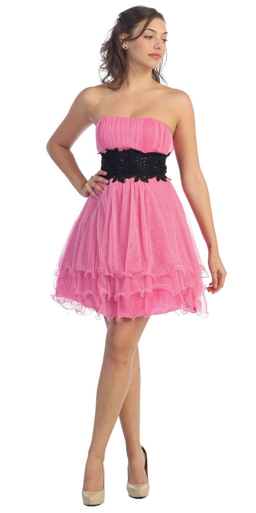 Pink/Black Poofy A Line Short Dress Strapless Ruffled Hem