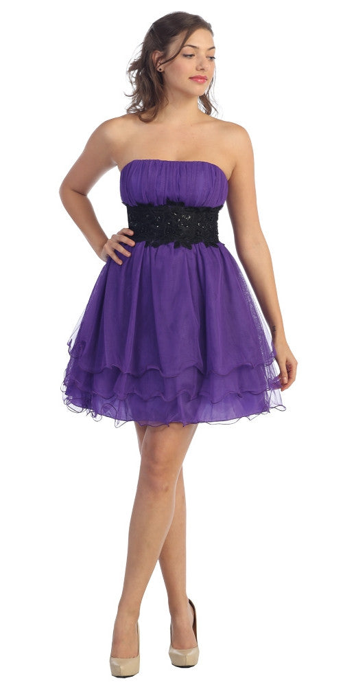 Purple/Black Poofy A Line Short Dress Strapless Ruffled Hem