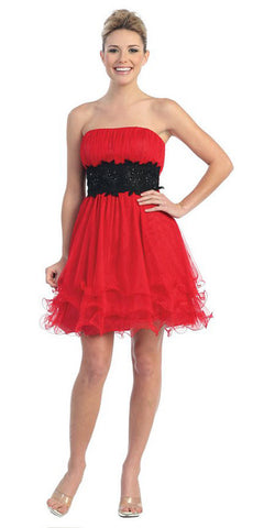 Red/Black Poofy A Line Short Dress Strapless Ruffled Hem