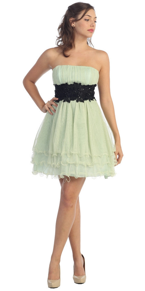 Sage Green/Black Poofy A Line Short Dress Strapless Ruffled Hem