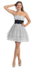Silver/Black Poofy A Line Short Dress Strapless Ruffled Hem