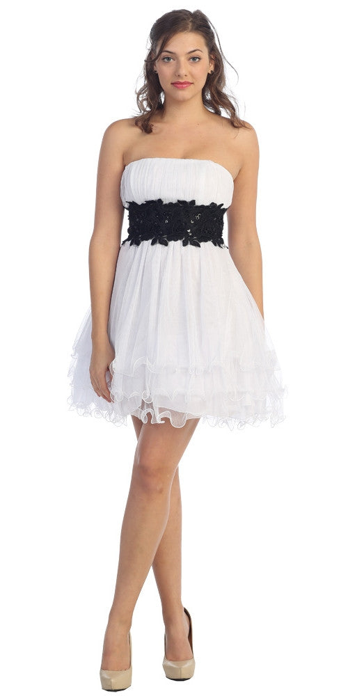White/Black Poofy A Line Short Dress Strapless Ruffled Hem