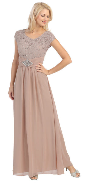 Long Lace Bodice Scoop Neck A Line Mocha Formal Dress