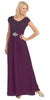 Long Lace Bodice Scoop Neck A Line Plum Formal Dress