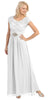 Long Lace Bodice Scoop Neck A Line White Formal Dress