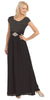Long Lace Bodice Scoop Neck A Line Black Formal Dress