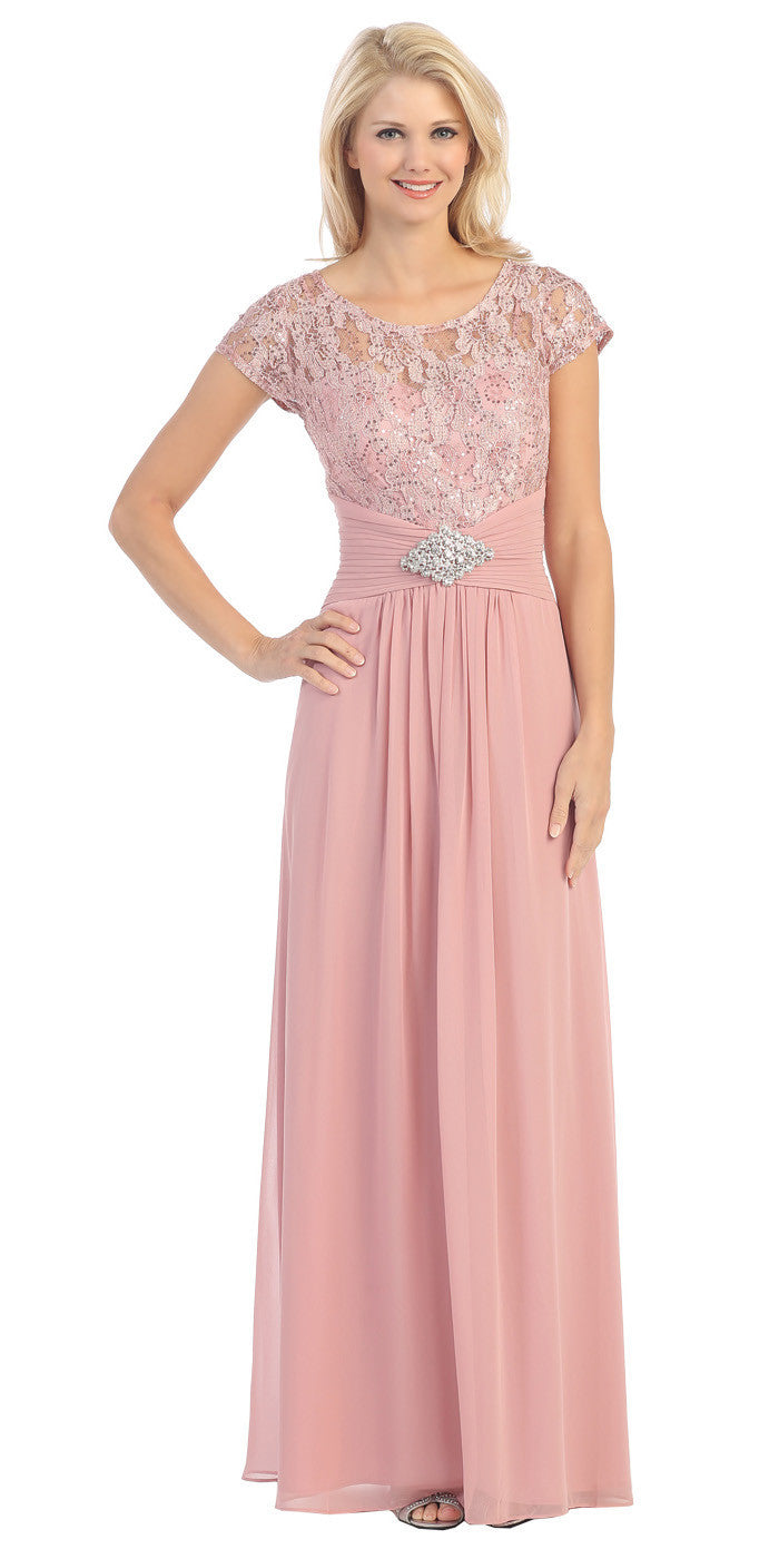 Long Lace Bodice Scoop Neck A Line Dusty Rose Formal Dress