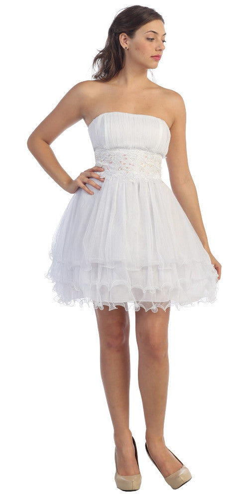 White/White Poofy A Line Short Dress Strapless Ruffled Hem