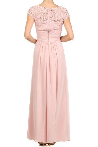 Long Lace Bodice Scoop Neck A Line Dusty Rose Formal Dress Back