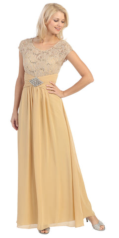 Long Lace Bodice Scoop Neck A Line Gold Formal Dress