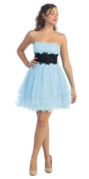 Baby Blue/Black Poofy A Line Short Dress Strapless Ruffled Hem
