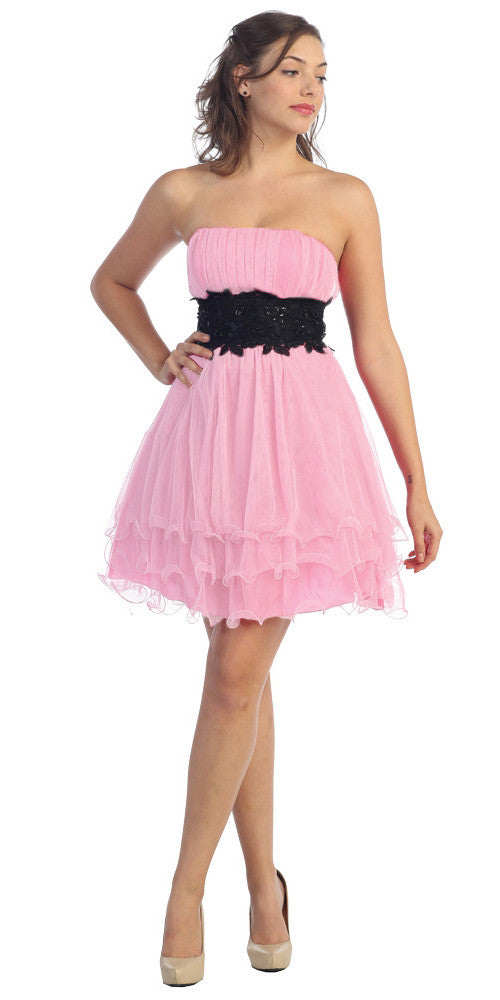 Baby Pink/Black Poofy A Line Short Dress Strapless Ruffled Hem