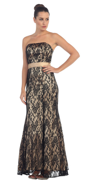 Long Strapless Ruched Belt Black Gold Trumpet Formal Gown