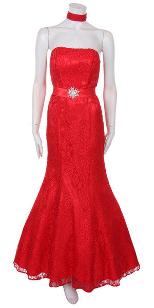 Long Strapless Ruched Belt Red Trumpet Formal Gown