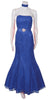 Long Strapless Ruched Belt Royal Blue Trumpet Formal Gown