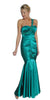 ON SPECIAL - LIMITED STOCK - Long Teal Prom Dress Mermaid One Shoulder Flower Strap Fitted Torso