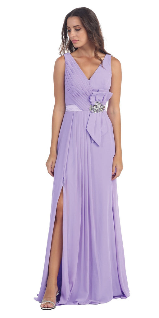 Long Thigh Slit Sleeveless V Neckline Lilac Formal Gown