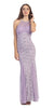 Mermaid Flair Skirt Lace Evening Gown Lilac Pearl Necklace