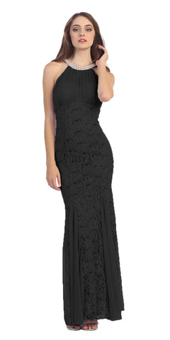 Eureka Fashion 5030 Mermaid Flair Skirt Lace Evening Gown Black Pearl Necklace
