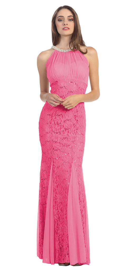 Mermaid Flair Skirt Lace Evening Gown Coral Pearl Necklace