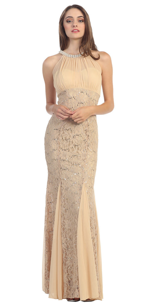 Mermaid Flair Skirt Lace Evening Gown Gold Pearl Necklace