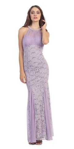 Eureka Fashion 5030 Mermaid Flair Skirt Lace Evening Gown Lilac Pearl Necklace
