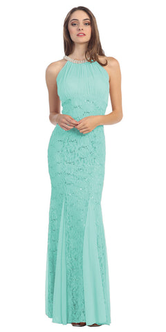 Mermaid Flair Skirt Lace Evening Gown Mint Pearl Necklace