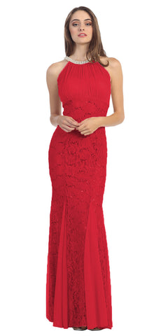 Eureka Fashion 5030 Mermaid Flair Skirt Lace Evening Gown Red Pearl Necklace