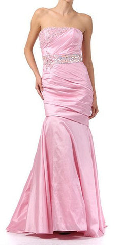 ON SPECIAL - LIMITED STOCK - Mermaid Light Pink Gown Strapless Taffeta Rhinestone Bodice Tight Fit