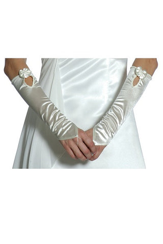 Satin White Gloves Ivory Gloves Satin Mid Length Fingerless Bridal