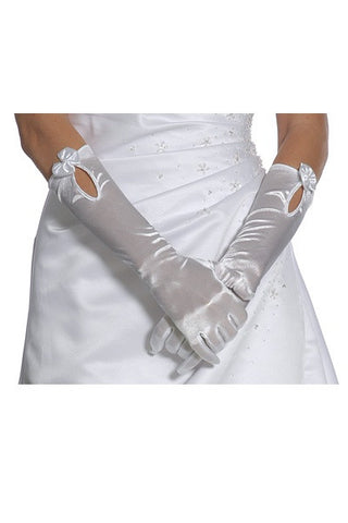 Mid Length Satin White Gloves Ivory Gloves Prom Gloves Wedding Gloves