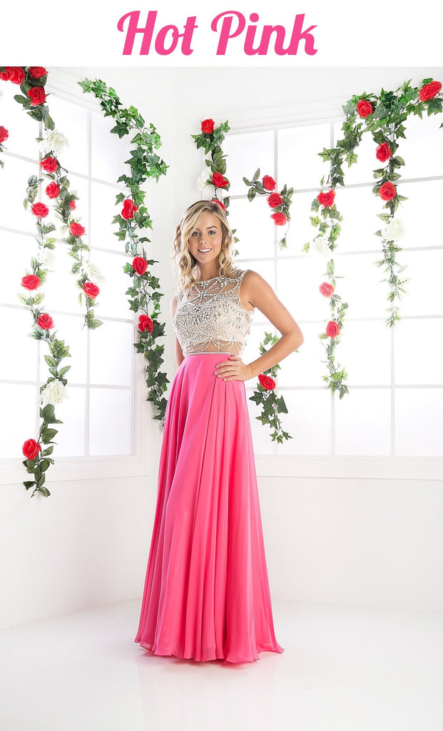Cinderella Divine PC907 Mock Two Piece Prom Dress Hot Pink with Full Skirt Cut Out Back