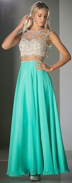 Cinderella Divine PC907 Mock Two Piece Prom Dress Mint with Full Skirt Cut Out Back