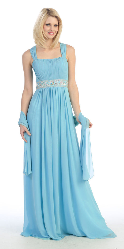 Formal Plus Size Dress Turquoise Flowy Chiffon A Line Empire