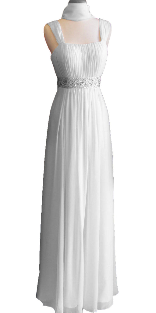 Formal Plus Size Dress White Flowy Chiffon A Line Empire