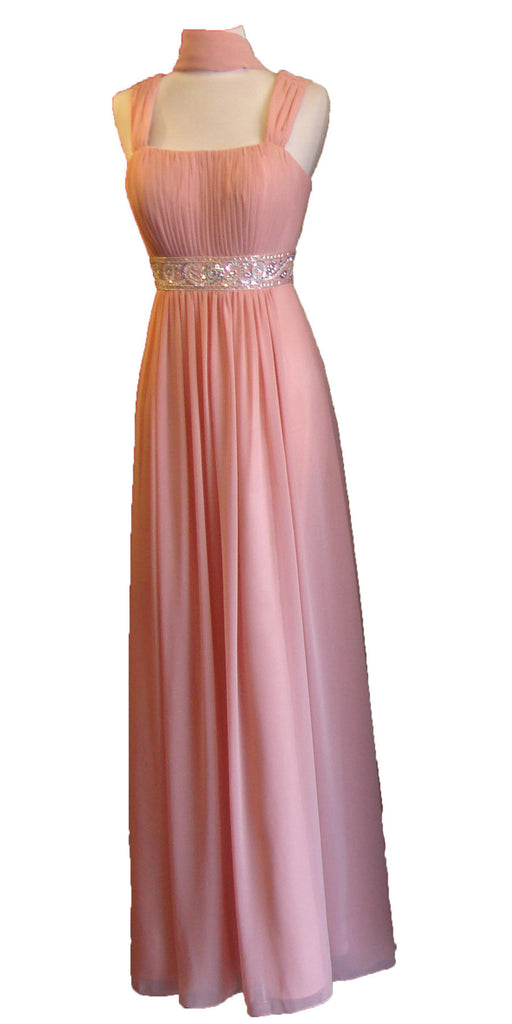 Formal Plus Size Dress Dusty Pink Flowy Chiffon A Line Empire