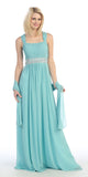 Formal Plus Size Dress Mint Flowy Chiffon A Line Empire