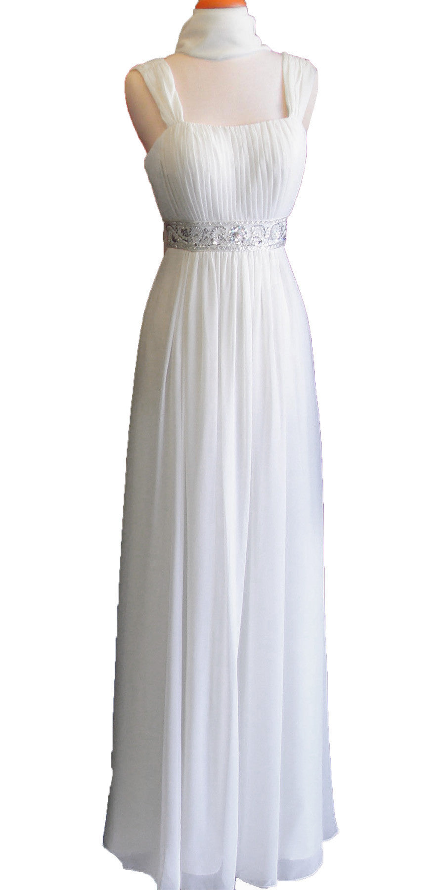 Formal Plus Size Dress Off White Flowy Chiffon A Line Empire