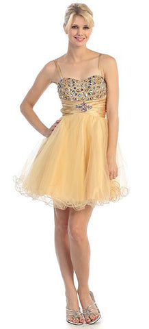 Noodle Strapped Short Studded Sleeveless Gold Prom Dress