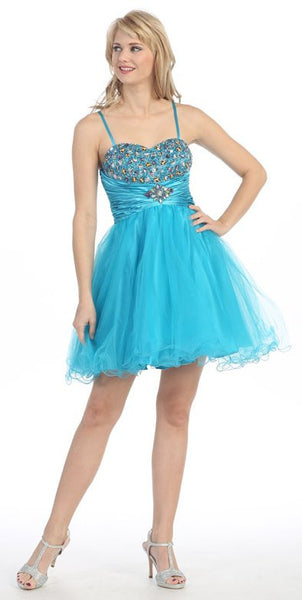 Noodle Strapped Short Studded Sleeveless Turqouise Prom Dress
