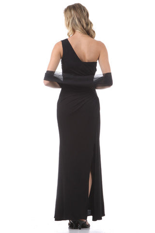 One Shoulder Long Side Gathered Black Column Prom Dress